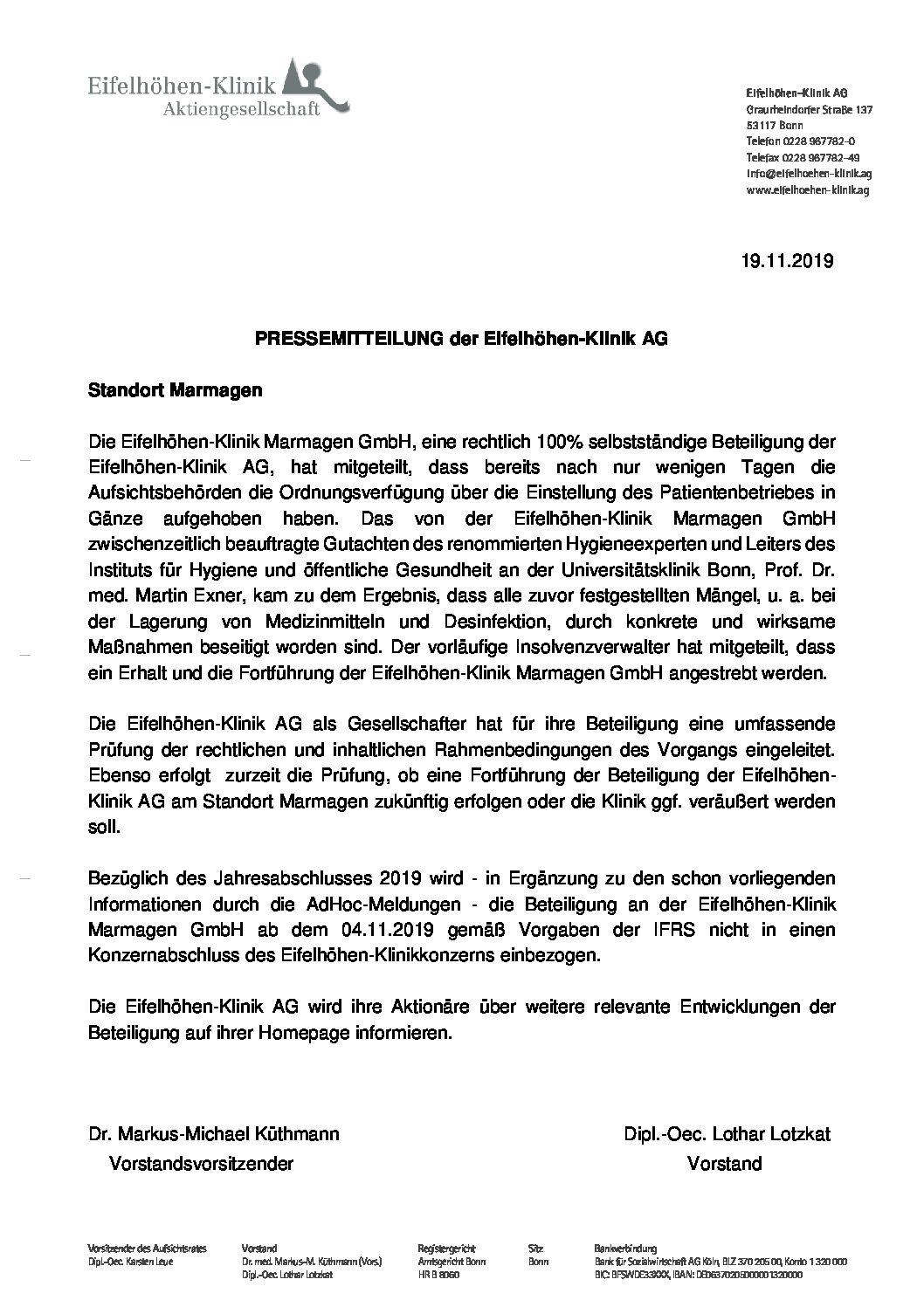 Presseerklärung 19.11.2019_Standort Marmagen