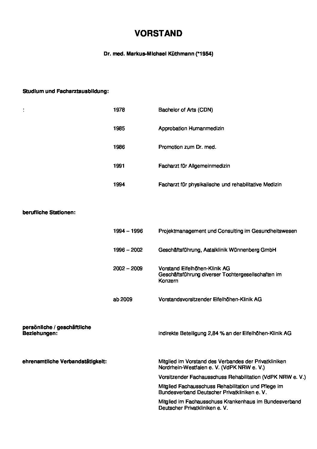 CV Dr. Küthmann